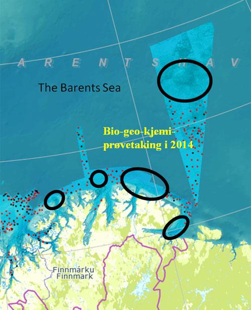Planlagte innsamlingsområder i 2014 (sirklet i sort). Bilde fra mareano.no (se link i teksten)