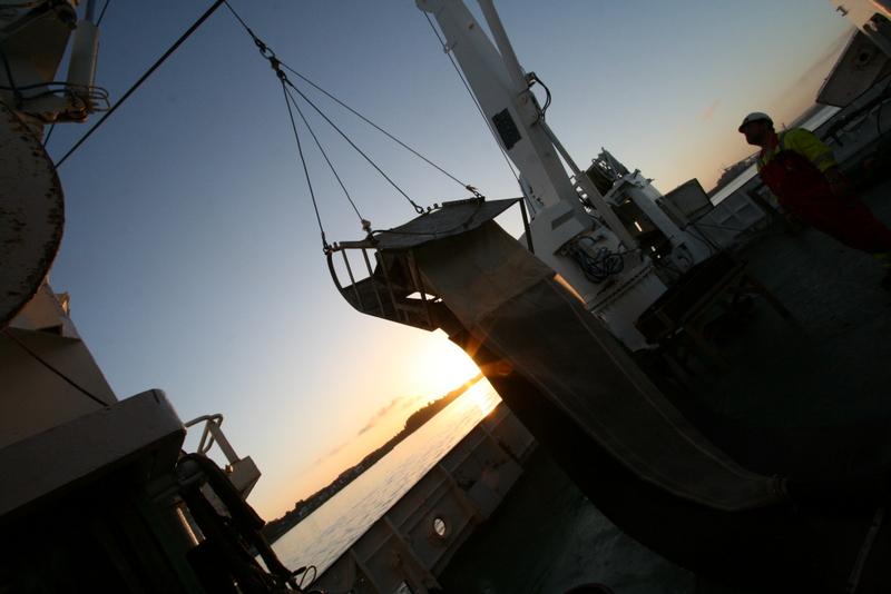 RP-slede i solnedgang