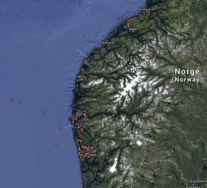 På Vestlandet finnes pelsmollusken Scutopus ventrolineatus langt fra kysten men også langt inne i fjordene.