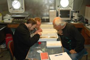 Wim Vader og to av hans amfipodestudenter. Foto: AHS Tandberg