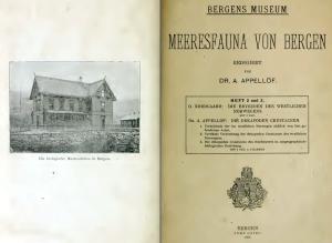 """""""Meeresfauna von Bergen"""" - Bergens havfauna, en serie studier som Appellöf redigerte."""