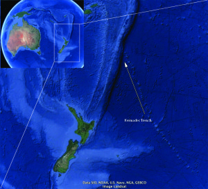 Kart over havet nord for New Zealand, med Kermadec Trench. Originalkart fra Google maps.