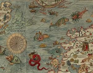Olaus Magnus sitt Nordenkart fra 1539. I havet utenfor Nordlands-kysten bor det kanskje flere monstre?