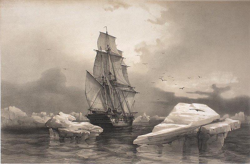 Korvetten La Recherche i isen ved Bjørnøya. Tegning av ekspedisjonens kunstner: August Mayer.
