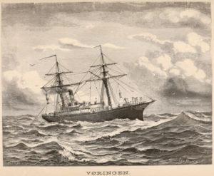 """Dampskipet Vøringen. Tegning: Waldermar Waldor, bilde fra """"Den Norske Nordhavsekspedisjonen"""" bind 1"""