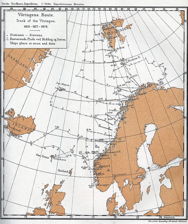 Oversikt over stasjonene i Den Norske Nordhavsekspedisjonen.