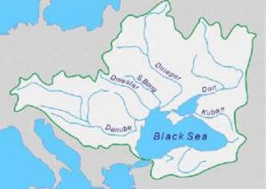 Elvene som ender i Svartehavet. Illustrasjon fra http://infomapsplus.blogspot.no