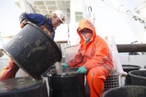 Tone og Anne Helene vasker den gjørmete sledeprøven. Etterpå skal de vaske dekks-klærene, og etter det må nok en dekksarbeidervask til...