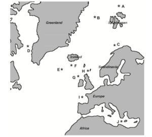 Originalfull (typelokaliteter) for forskjellige Lepechinella i det nordlige Atlanterhav. Figur 1 i Johansen & Vader, 2015.