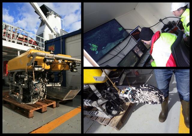 ROV'en Aglantha, inni den blå boksen, og høyst spesialisert svampeinnsamlingsutstyr