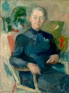 Kristine Bonnevie (1872-1948) malt av Agnes Hiorth (1899-1984). Maleriet er i Universitetet i Oslos eie.