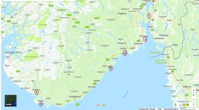 Kart over sørNorge, med G.O. Sars sin sommertur i 1865 inntegnet. 1: Drøbak 2: Vallø 3: Langesund 4: Risør 5: Flekkefjord 6: Farsund. (kart fra Google maps, inntegninger AH Tandberg)